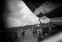 Photo: People carrying a flag