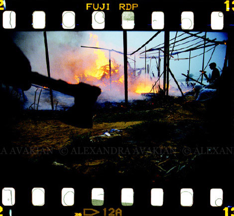35mm film image of a Palestinian farm set ablaze by Israeli settlers