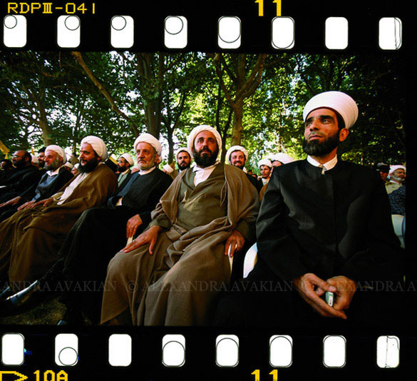 Men at a Hezbollah rally in Lebanon