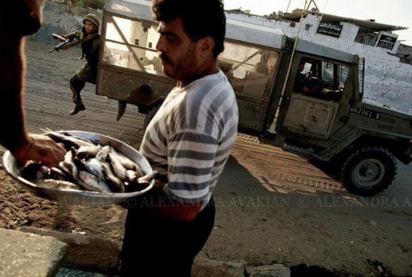 A man selling fish on the street in Gaza, while a young member of the army jumps out of a truck behind him, gun in hand.